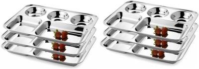 Honey Compartment Plates Pack of 6 Dinner Set(Stainless Steel) at flipkart