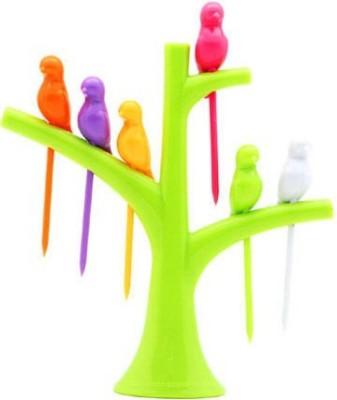 Snowpearl Tree-Birds Shaped Plastic Fruit Fork Set(Pack of 7) at flipkart
