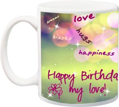 IZOR Gift for Husband/Wife/Boyfriend/Girlfriend/lover;Love hugs Happiness Happy birthday my Love Beautiful HD Print Ceramic Mug(325 ml) at flipkart