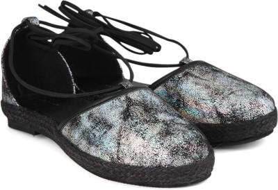 Chemistry Ankle Tie Strap Espadrilles For Women(Black)