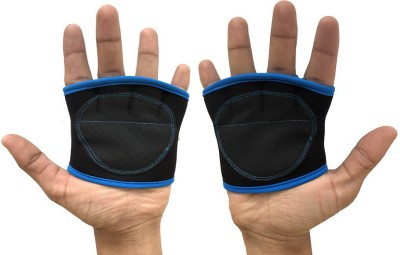 Kobo Weight Lifting Fitness Grip Pad Palm Support (Free Size, Black, Blue)