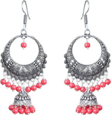 Waama Jewels Red Pearl Silver Plated ChandBali Jhumka For Women and Girls Perfect for All Occasions Pearl Brass Chandbali Earring Waama Jewels Earring