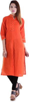 V.O COUTURE Festive & Party Solid Girl's Kurti(Orange)