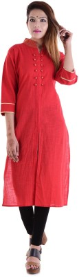 V.O COUTURE Festive & Party Solid Girl's Kurti(Red)