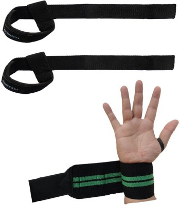 Kobo Pro Weight Lifting Straps Wrist Support and Straps Wrist Support Wrist Support (Free Size, Black)
