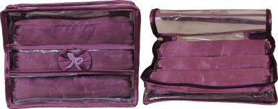 Annapurna sales Designer Transparent Treeple Roll Churi/Bangles Case - Set of 2 Pcs. Makeup and Jewellery Vanity Box(Purple)  available at flipkart for Rs.397