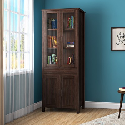 Urban Ladder Norland 65-book capacity Engineered Wood Semi-Open Book Shelf(Finish Color - Dark Walnut)