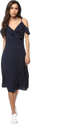 Harpa Women Fit and Flare Dark Blue Dress