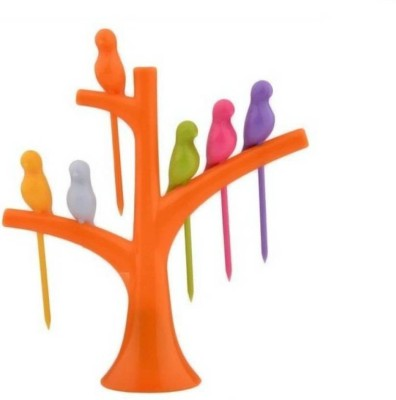 Snowpearl Tree & Birds Shaped Plastic Fruit Fork Set(Pack of 7) at flipkart