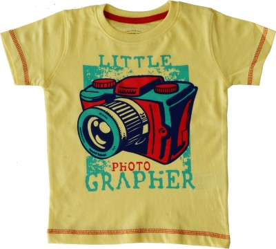 Indirang Boys Printed Cotton T Shirt(Yellow, Pack of 1) Flipkart
