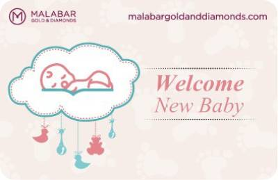"""Welcome New Baby"" Malabar Gold and Diamonds Gift Voucher"
