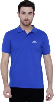 First Row Solid Men's Polo Neck Blue T-Shirt