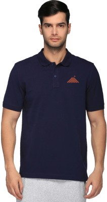 First Row Solid Men's Polo Neck Dark Blue T-Shirt