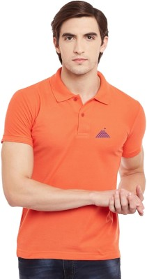 First Row Solid Men's Polo Neck Orange T-Shirt