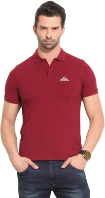 First Row Solid Men's Polo Neck Maroon T-Shirt