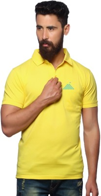 First Row Solid Men's Polo Neck Yellow T-Shirt