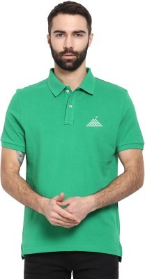 First Row Solid Men's Polo Neck Green T-Shirt