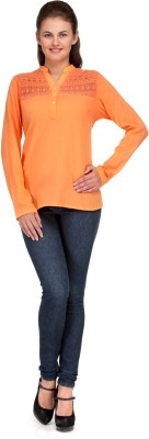 INDIA INC. Casual Full Sleeve Solid Women's Orange Top  available at flipkart for Rs.249