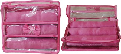 Annapurna sales Designer Transparent Treeple Roll Churi/Bangles Case - Set of 2 Pcs. Makeup and Jewellery Vanity Box(Pink)  available at flipkart for Rs.397