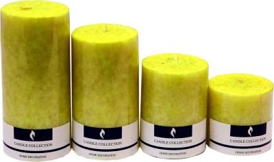 Snoby Snoby Lemon Grass Marble Pillar Candle Set Candle(Green, Pack of 4)