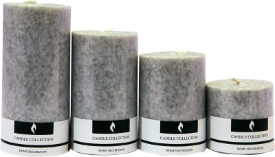 Snoby Snoby Cinnamons Marble Pillar Candle Set Candle(Grey, Pack of 4)