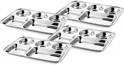 Honey Compartment Plates Pack of 4 Dinner Set(Stainless Steel) at flipkart