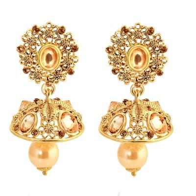Spargz Floral Jhumka Earring Diamond Alloy Jhumki Earring  available at flipkart for Rs.349