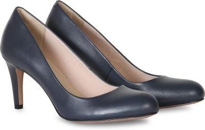 Clarks Women Navy Leather Heels at flipkart