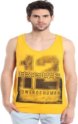 MASCULINO LATINO Printed Men's Round Neck Yellow T-Shirt