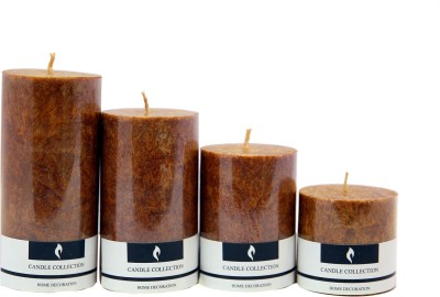 Snoby Snoby Coffee Marble Pillar Candle Set Candle(Brown, Pack of 4)