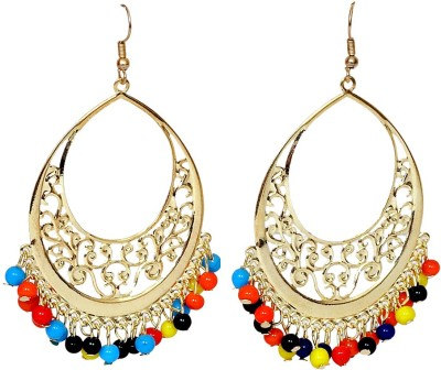 Pingaksh Crafty Collection Beautiful Multicolor Beads Chand Bali Pearl Alloy Chandbali Earring  available at flipkart for Rs.199