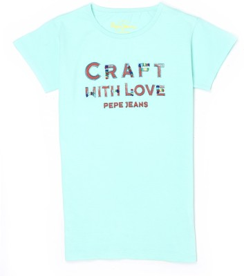 Pepe Jeans Girls Graphic Print Cotton T Shirt(Green, Pack of 1)  available at flipkart for Rs.250