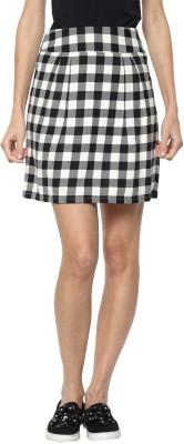 Rare Checkered Women Regular White, Black Skirt