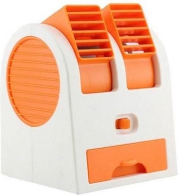Comfort Dual Bladeless High Quality Mini Air Cooler & Conditioner Cooling 4 Blade Table Fan(Orange)