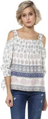 Harpa Casual 3/4th Sleeve Paisley Women's White Top