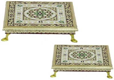 Apkamart Decorative Wood All Purpose Chowki(Multicolor, Pack of 2) at flipkart