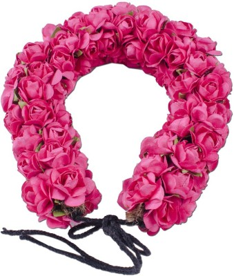 Majik Bridal Accessories For Bun Decoration Flowers Gajra Hair Band(Pink)