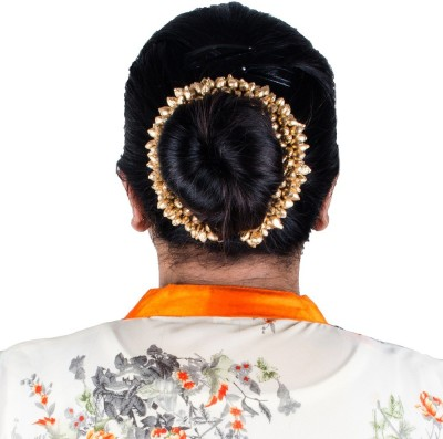 Majik Girls Accessories Styling Bridal Gajra (Veni) Bun Decoration Hair Band(Gold)