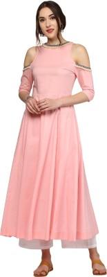 Sassafras Women Solid Anarkali Kurta(Pink)