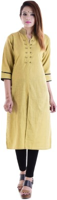 V.O COUTURE Festive & Party Solid Girl's Kurti(Yellow)
