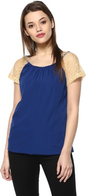 MAYRA Casual Short Sleeve Lace Women Dark Blue Top MAYRA Women's Tops