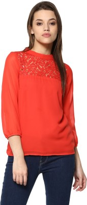 MAYRA Casual Regular Sleeve Lace, Solid Women Red Top MAYRA Women's Tops
