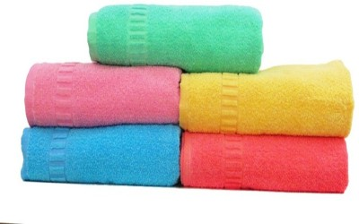 D R RETAIL Cotton 400 GSM Bath Towel(Pack of 5, Multicolor) at flipkart