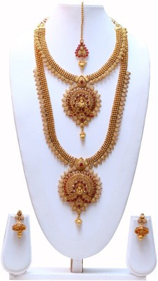 Swarajshop Copper Jewel Set(Maroon, Gold) at flipkart