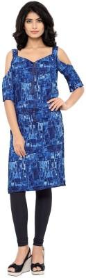 Desi Pitara Women Printed Straight Kurta Blue