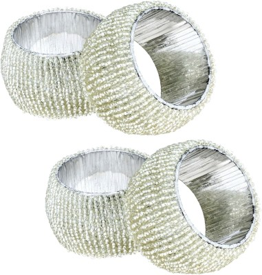 RoyaltyLane 4 Set Napkin Rings Vintage Glass Beaded Silver Ring Hollow Out Unique Dinner Parties Napkin Rings Set of 4 Napkin Rings(Silver)  available at flipkart for Rs.190