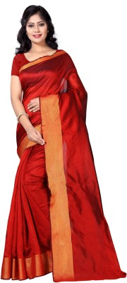 Vimalnath Synthetics Solid Fashion Raw Silk Saree(Red)
