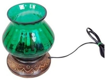 Desi Karigar Wood & Glass Electric chimney Table Lamp(35 cm, Brown)  available at flipkart for Rs.399