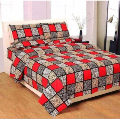 Casa Confort Cotton Self Design King sized Double Bedsheet(1 Bed Sheet,2 Pillow Cover, Multicolor) at flipkart