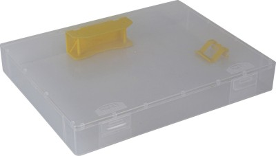 Pinzo 1 Compartments Plastic Transparent Paper Document Box with 2-Hole Filing Mechanism(White)